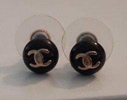 Chanel Pendientes de cuentas negro-color oro