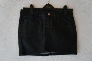 Mini Jeansrock schwarz gewachst Mango Größe 36