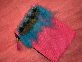 Minibag / Clutch in neonpink mit Federn