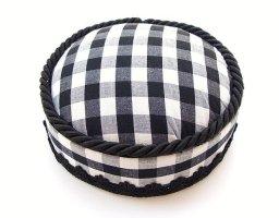 Chapeau feutre blanc-noir tissu mixte