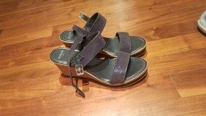 Minozzi Milano Wedge Sandals black-camel