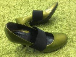 Miss Divine echt Leder Lack metallic grün gr 38 sehr stylisch Absatz 8