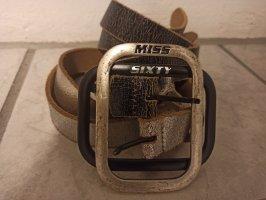 Miss Sixty Cinturón doble negro-color plata