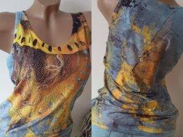 MiSsY Tunika-Top/Shirt - Größe XL 40/42 - Petrol/Yellow - NuOvO!