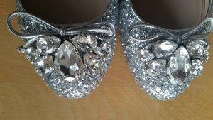 Miu Miu Patent Leather Ballerinas silver-colored