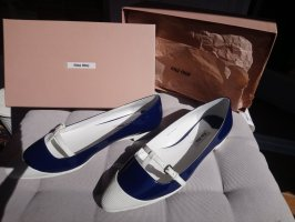 Miu Miu Patent Leather Ballerinas white-dark blue