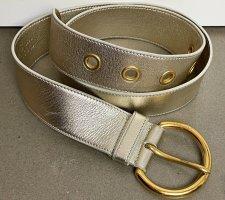 * MIU MIU * breiter LEDER GÜRTEL silber gold Gr 85 / Breite 4 cm