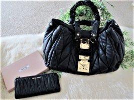 Miu Miu Sac porté épaule noir-doré cuir