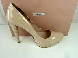 Miu Miu by Prada Pumps High Heels aus Lackleder in Nude Gr.40,5