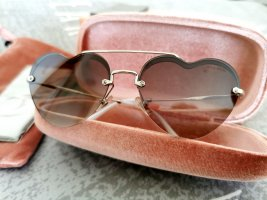 MiuMiu Round Sunglasses anthracite-light brown metal