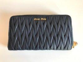 Miu Miu Portefeuille bleu foncé cuir