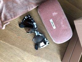 Miu Miu Gafas Retro negro-gris claro tejido mezclado