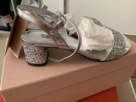 Miu Miu Dianette Sandals silver-colored leather