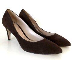 Miu Miu Schuhe Pumps Braun 38,5 Velours Leder 7cm High Heels Point Toe + Dust Bag