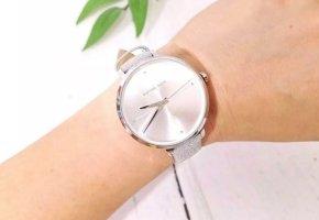 MK Uhr wunderschöne silberne Band Glitzer