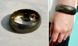 MNG Bangle gold-colored-black metal