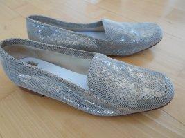 Mocassins Gabriele italy Gr. 39,5 echtes Leder glamour Reptiloptik graugrün