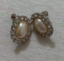 Vintage Clou d'oreille argenté-blanc