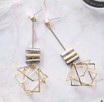 Moderne Drei-dimensionale Geometrische Gold Farbe Lange Ohrringe