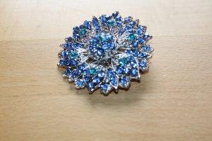 """Modeschmuck Brosche mit blauen Steinen besetzt; """"mächtig""""!"""