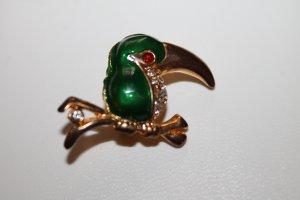 Modeschmuck Brosche Vogel Tukan (?)