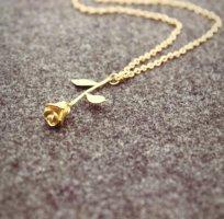 Modeschmuck Kette Collier gold Rose rosenanhänger chic romantisch Halskette Kettchen Halsketten Halskettchen