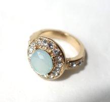Modischer Ring mit geschliffenem Schmuckstein, wie ein Aquamarin, Ringgröße 16,6/16,9 / Ringgröße 53