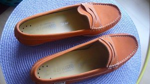Moccasins dark orange-salmon leather