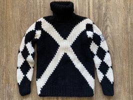 Moncler Sweter z golfem biały-czarny