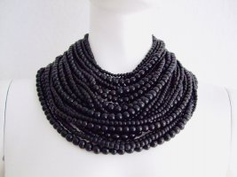 MONIES Necklace - buffalo horn pearls  - leather -silk NEW