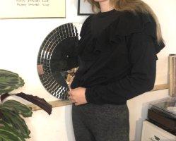 Monki 36/S Strickpullover Pullover Sweater Volant Rüschen schwarz Baumwolle 38 M