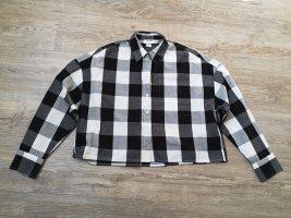 Monki S cropped Bluse kariert schwarz weiß oversized