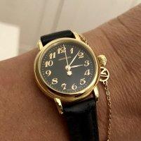 Montblanc Montre avec bracelet en cuir noir-doré