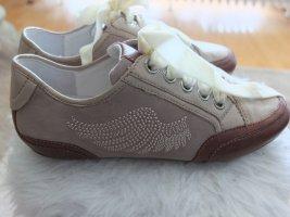 More & More Schnürschuhe Sneaker mit Flügeln Leder Camel + Cognac Neu 39