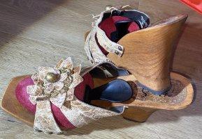 Sandalo con tacco multicolore Pelle