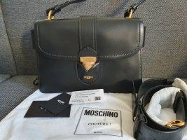Moschino Crossbody Neu Leder Schwar Gold Tasche Luxus Original Umhängetasche