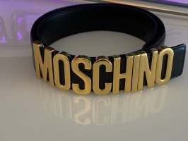 Moschino Ceinture en cuir noir-doré