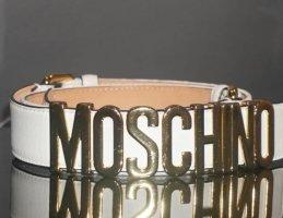 Moschino Cintura di pelle bianco-oro