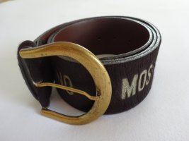 Moschino Leather Belt dark brown-cream leather
