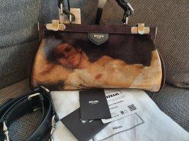 Moschino Handtasche Crossbody Tasche ungetragen samt Leder schwarz silber beige