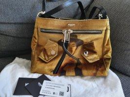 Moschino Handtasche Tasche Schultertasche samt Leder schwarz silber beige