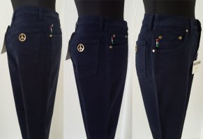 MOSCHINO Jeans Dunkelblau / Peace Sign & Hearts High Waist / Size 27 / UVP 98€
