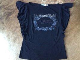 Moschino Jeans Koszulka z dekoltem woda czarny Włókno octanowe