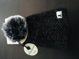 Gorro con borla negro-gris claro Sintético