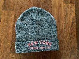 H&M Sombrero de punto rosa-gris oscuro