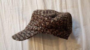 Cappello con visiera marrone-bianco sporco Poliestere