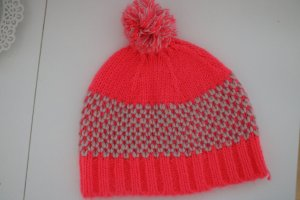 Promod Knitted Hat neon pink-white