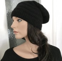 ◉ Mütze / Beanie Mohair-Wollmix, schwarz ◉