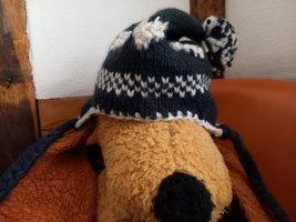 Chapeau en tricot bleu foncé-blanc tissu mixte