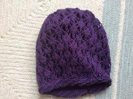 Cappello a maglia marrone-viola Tessuto misto